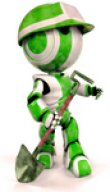 Clipart Illustration of a 3D Green And White AO-Maru Robot With A Matching Hardhat, Carrying A Shovel, Looking Off To The Right